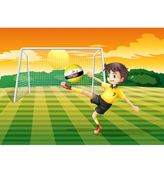 A girl kicking the ball with the flag of Brunei vector