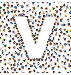 A group of people in english alphabet letter v vector