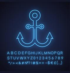 Anchor neon light icon vector