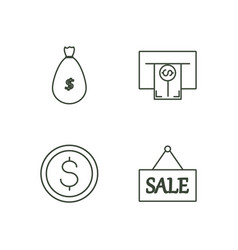 Banking outline icons set vector