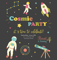 Birthday party card with cosmic objects vector