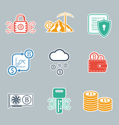 Bitcoin icon set vector