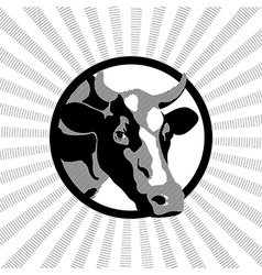 Black and white label cow vector image