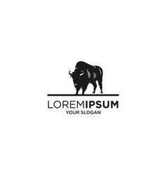 black byson animal silhouette logo vector image