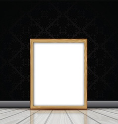 Blank picture with wooden frame leaning against vector image