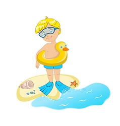 boy on the seaside vector image