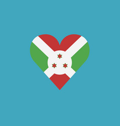 burundi flag icon in a heart shape in flat design vector image