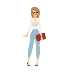 Business dress girl attractive happy person with vector