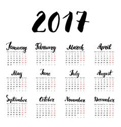 Calendar 2017 Year One Sheet Hand Drawn Month vector image