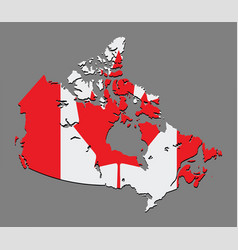 canada map with the canadian flag vector image