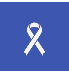 Cancer ribbon icon flat style awareness symbol vector