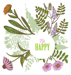 Card with floral elements in hand-drawn style vector