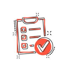 cartoon checklist icon in comic style checklist vector image