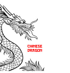 chinese dragon hand drawn contour drawing vector image