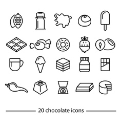chocolate line icons vector image