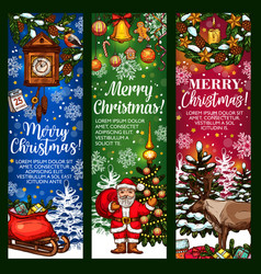 christmas greeting banner with holiday sketches vector image