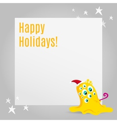 Christmas greeting card design with cute monster vector image
