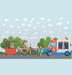 City street with food stalls flat vector