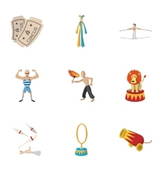 Concert in circus icons set cartoon style vector image