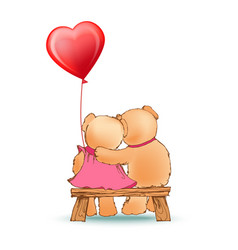 couple bears sits on bench with red balloon vector image