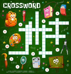 crossword puzzle game with school characters vector image
