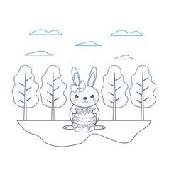 Degraded line female rabbit with sweet donuts in vector