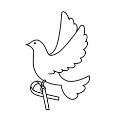 dove of peace flying with ribbon vector image