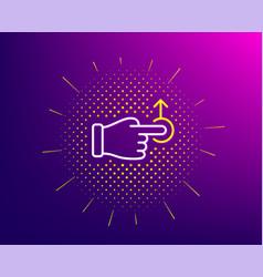 Drag drop gesture line icon slide arrow sign vector