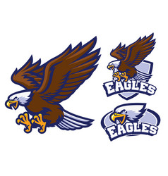 eagle character set in sport mascot style vector image