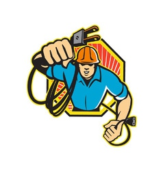 Electrician Construction Worker Retro vector image