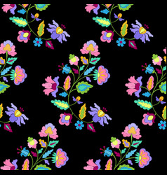 Fantasy flowers embroidery seamless pattern vector