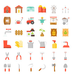 Farm and agriculture equipment flat icon vector