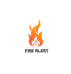 fire flame with danger sign logo symbol vector image