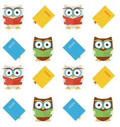 Flat Seamless Pattern Wisdom and Knowledge Owls vector image