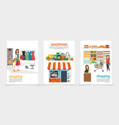 flat shopping brochures vector image