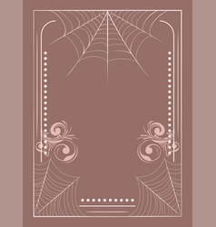 Floral frame with spider web vector