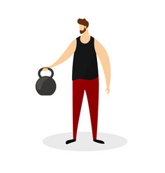 full height strong man doing exercises with weight vector image