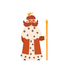 Funny king character wearing ermine mantle cartoon vector