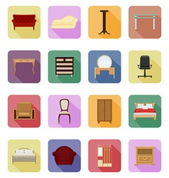 furniture flat icons 40 vector image