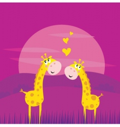 Giraffes in love vector