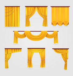 Gold velvet curtain drapery wedding stage vector