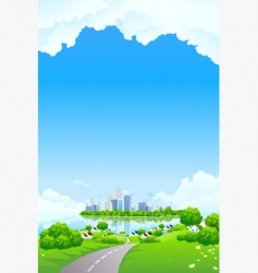 green landscape with business island vector image