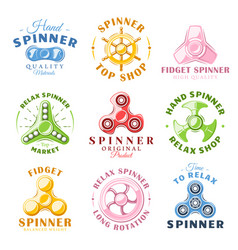 Hand spinner labels and logos vector