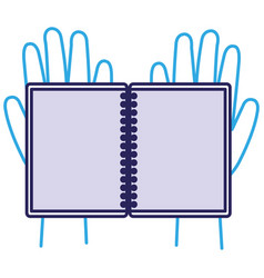 hands with notebook icon vector image