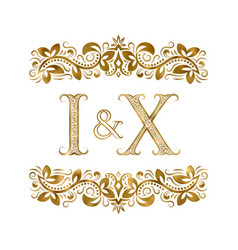 I and x vintage initials logo symbol the letters vector