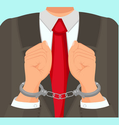 In foreground man in suit hands in handcuffs vector