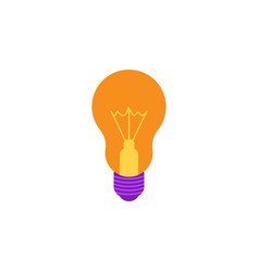 incandescent light bulb flat icon with yellow vector image