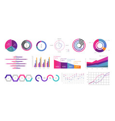 interface screen with colored infographic digital vector image