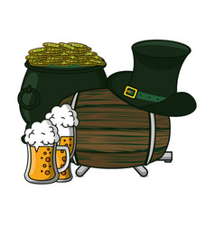 Irish beer coins and hat vector