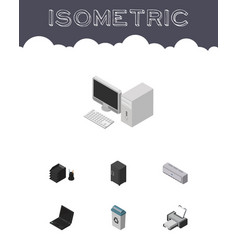 Isometric office set of wall cooler desk file vector